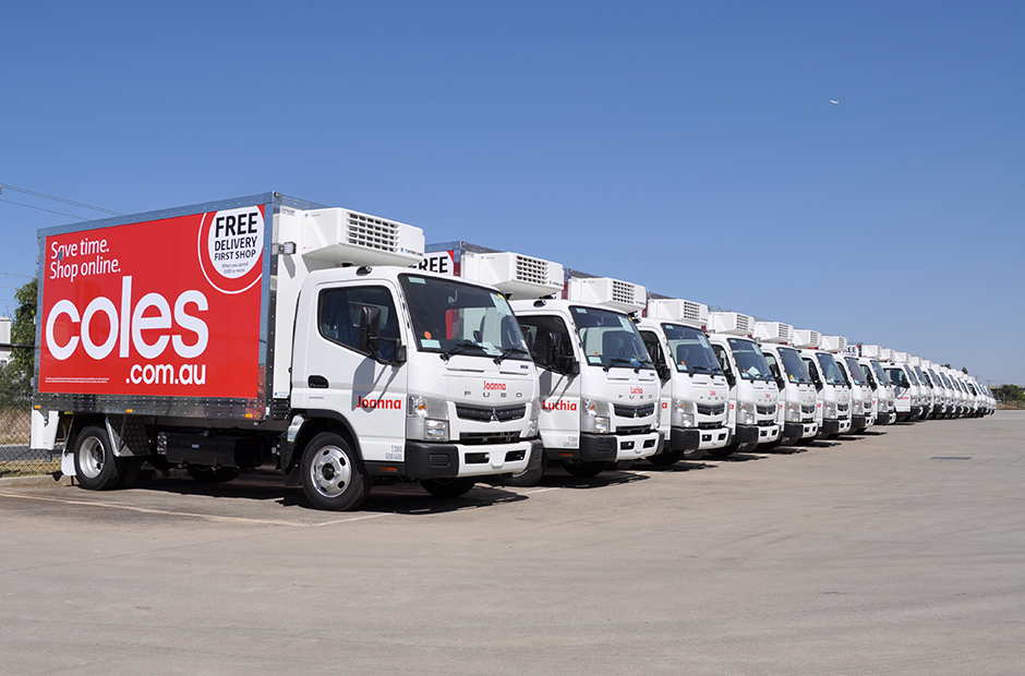 Coles Online Delivery Trucks with Thermo King Units