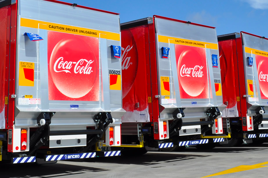 Truck tailboards with Coca-Cola logos